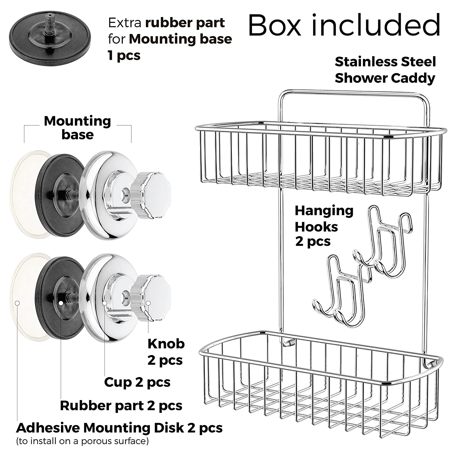 Amazon.com: HASKO accessories Shower Caddy with Suction Cup - 304 ...