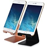 Honsky GEN-2 Universal Aluminum Cell Phone Tablet Desk Charging Stand Portable Hands Free Desktop Display Holder for iPhone iPad Mini LG Samsung Switch Other Android Cellphone, 2 Set, Rose Gold/Black