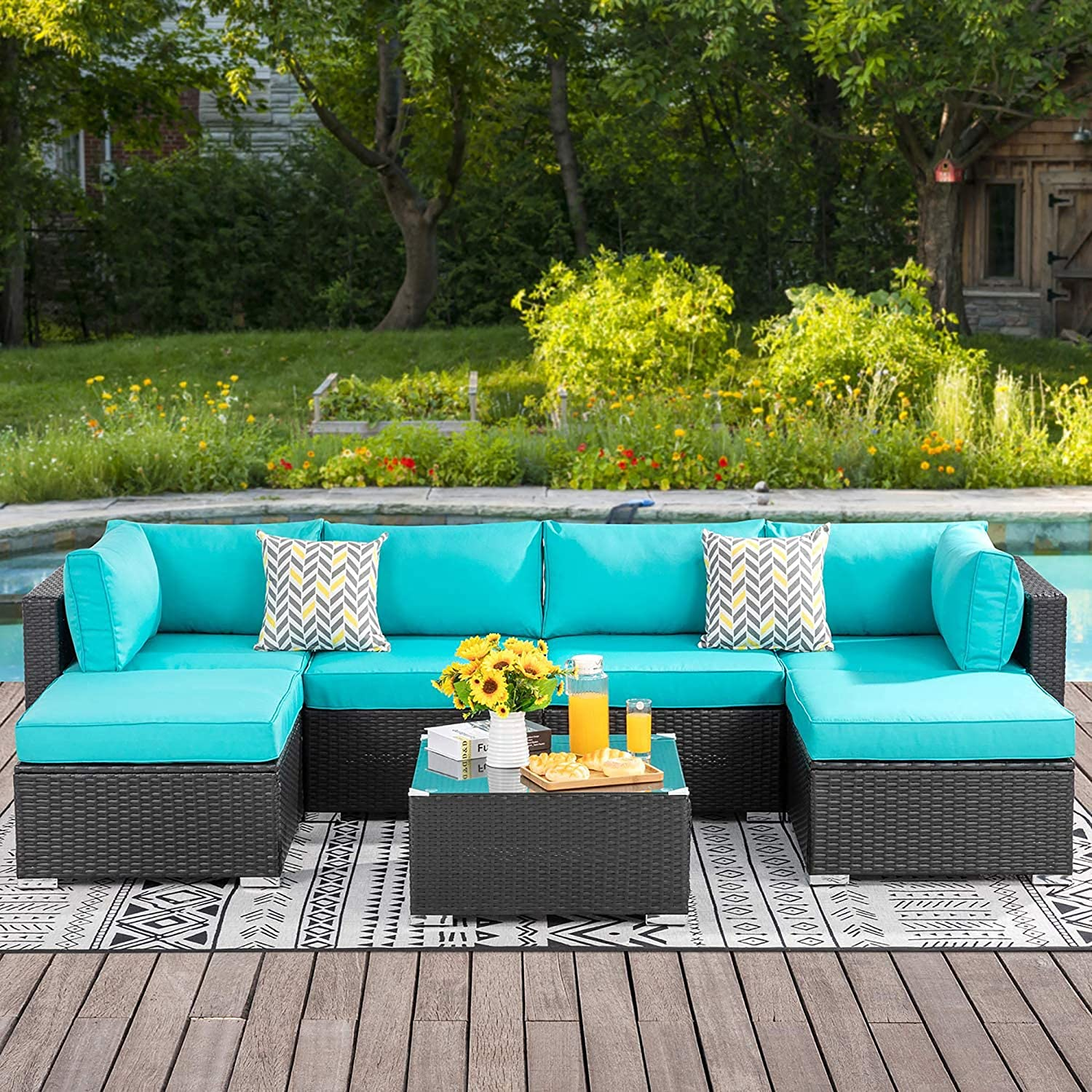 Walsunny 7pcs Patio Outdoor Furniture Sets,Low Back All-Weather Rattan Sectional Sofa with Tea Table&Washable Couch Cushions&Ottoman (Black Rattan) (Blue)