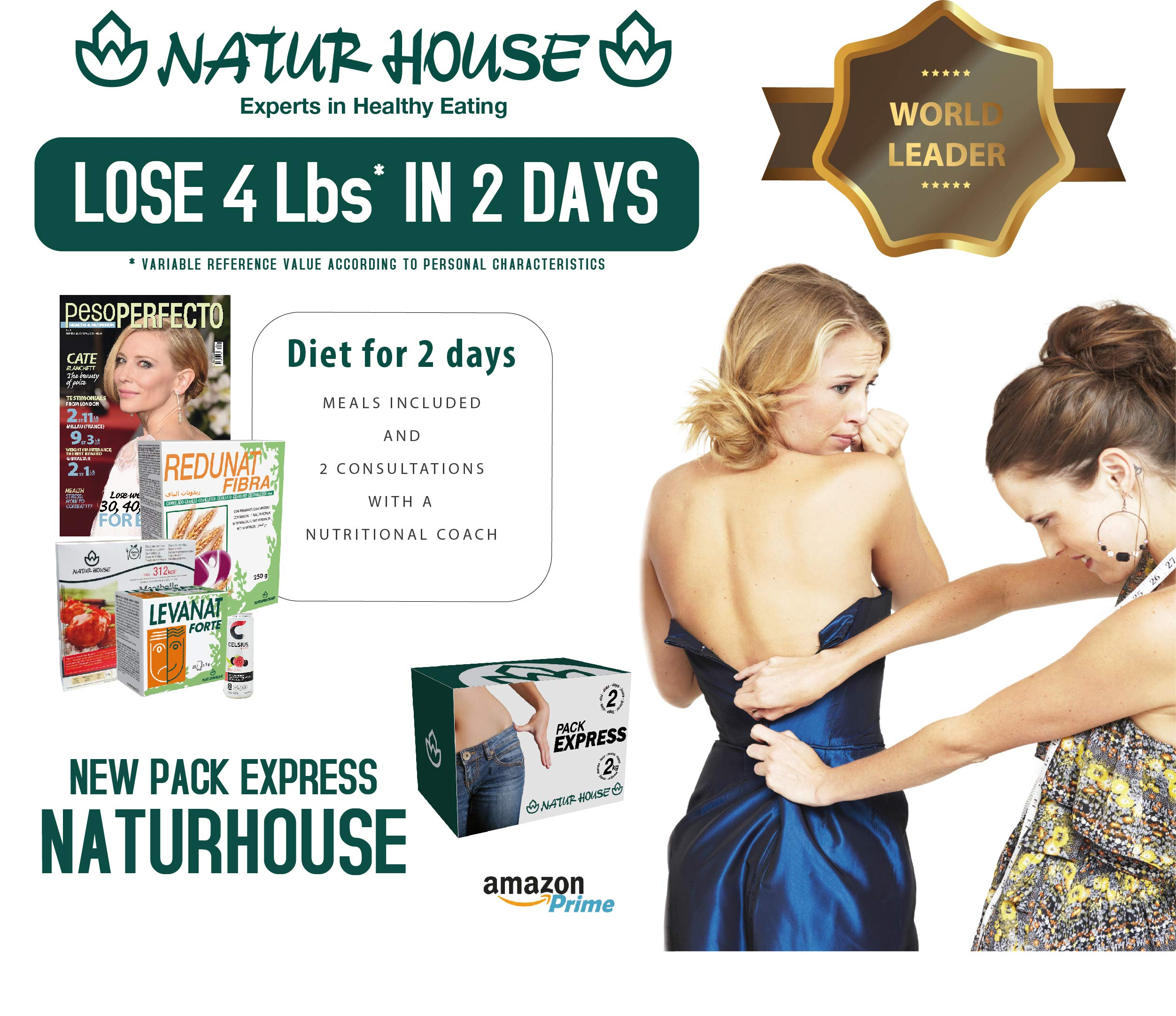 Naturhouse Pack Express - Complete 2 Days Weight Loss Plan - Comes with 4 Meals, 2 Weight Loss Drinks, Fiber, Supplement and More by Naturhouse (Image #3)