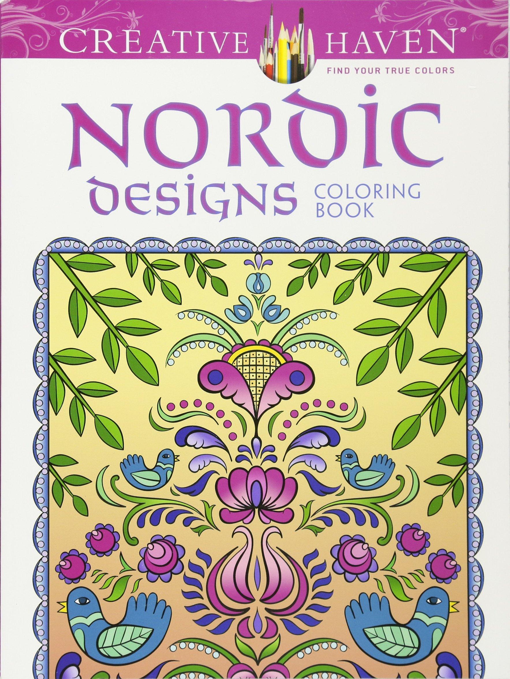 Amazon.com: Creative Haven Deluxe Edition Nordic Designs Coloring ...
