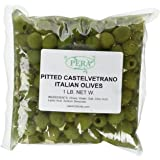 PERA Italian Pitted Castelvetrano Olives in Pouch, 1 Pound