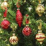 Valery Madelyn 24 Pieces Luxury Red Gold Glass Christmas Baubles Tree Decorations Novelty Ball Ornaments 70-107mm, Metal Hooks Included