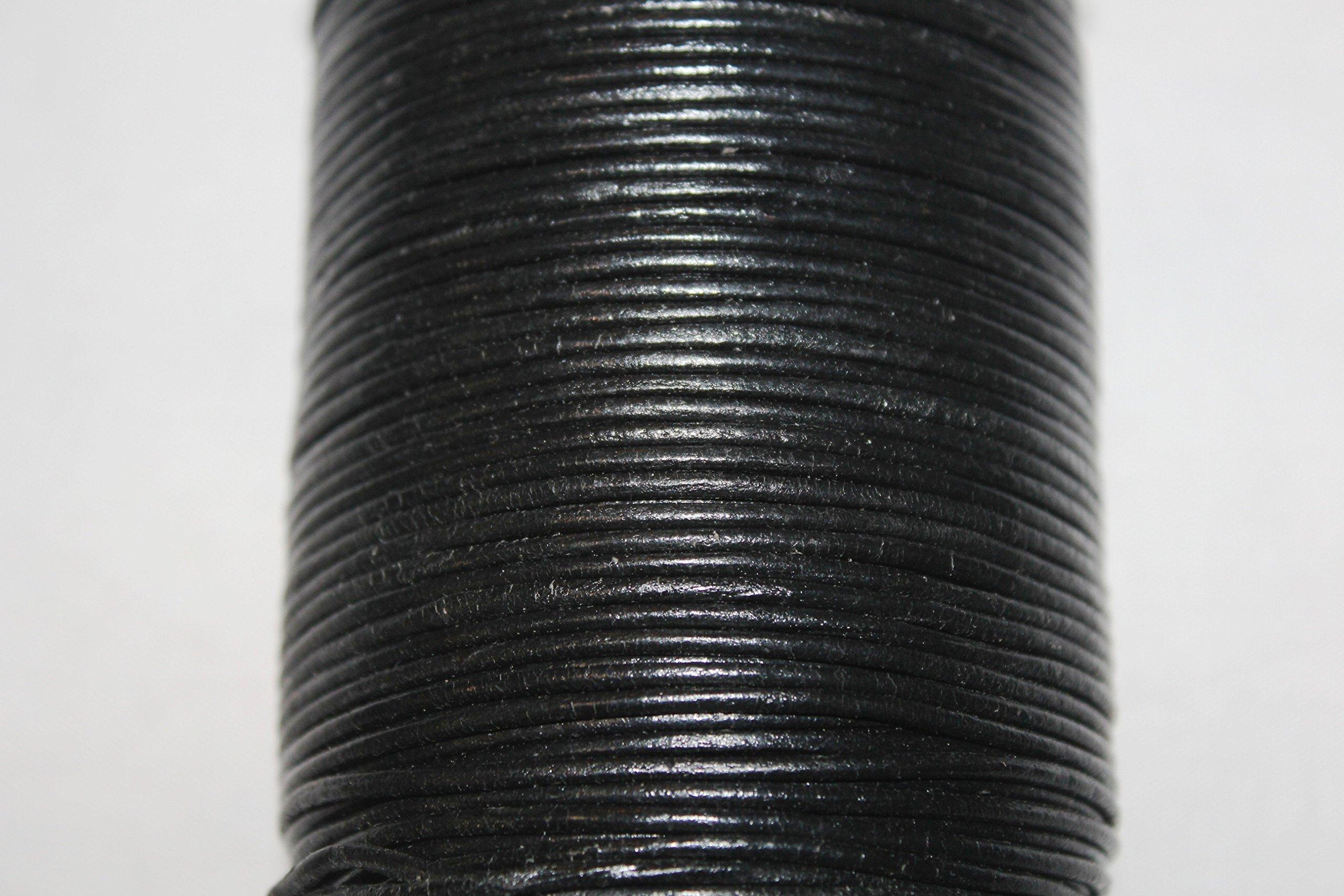 2mm - Round Leather Cord - 100 Meter / Spool Black GRL Series
