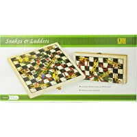 Recreational Wooden Snakes & Ladders Folding Game with Pair of Dice