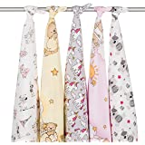 Pack of 5 Super Soft Large 80x70cm Brushed 100% Cotton Baby Flannel Squares Face Cloth Flanell Star Set. Swaddle your Baby in Blanket.