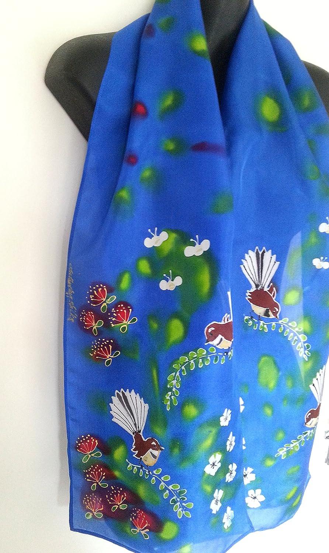 e1763259072 Amazon.com: New Zealand FANTAIL BIRD, Hand Painted Silk Scarf ...