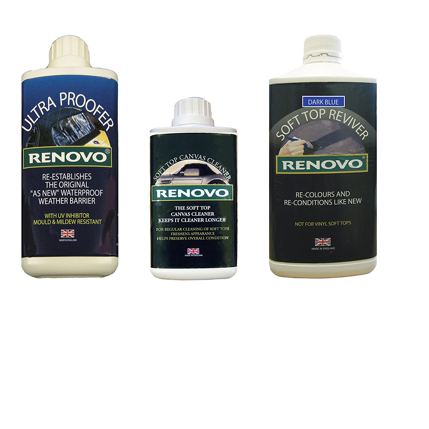Renovo REN-KIT3 Triple Cleaning Kit includes Soft Top Reviver/Soft Top Ultra Proofer/Soft Top Canvas Cleaner, Blue Renovo International
