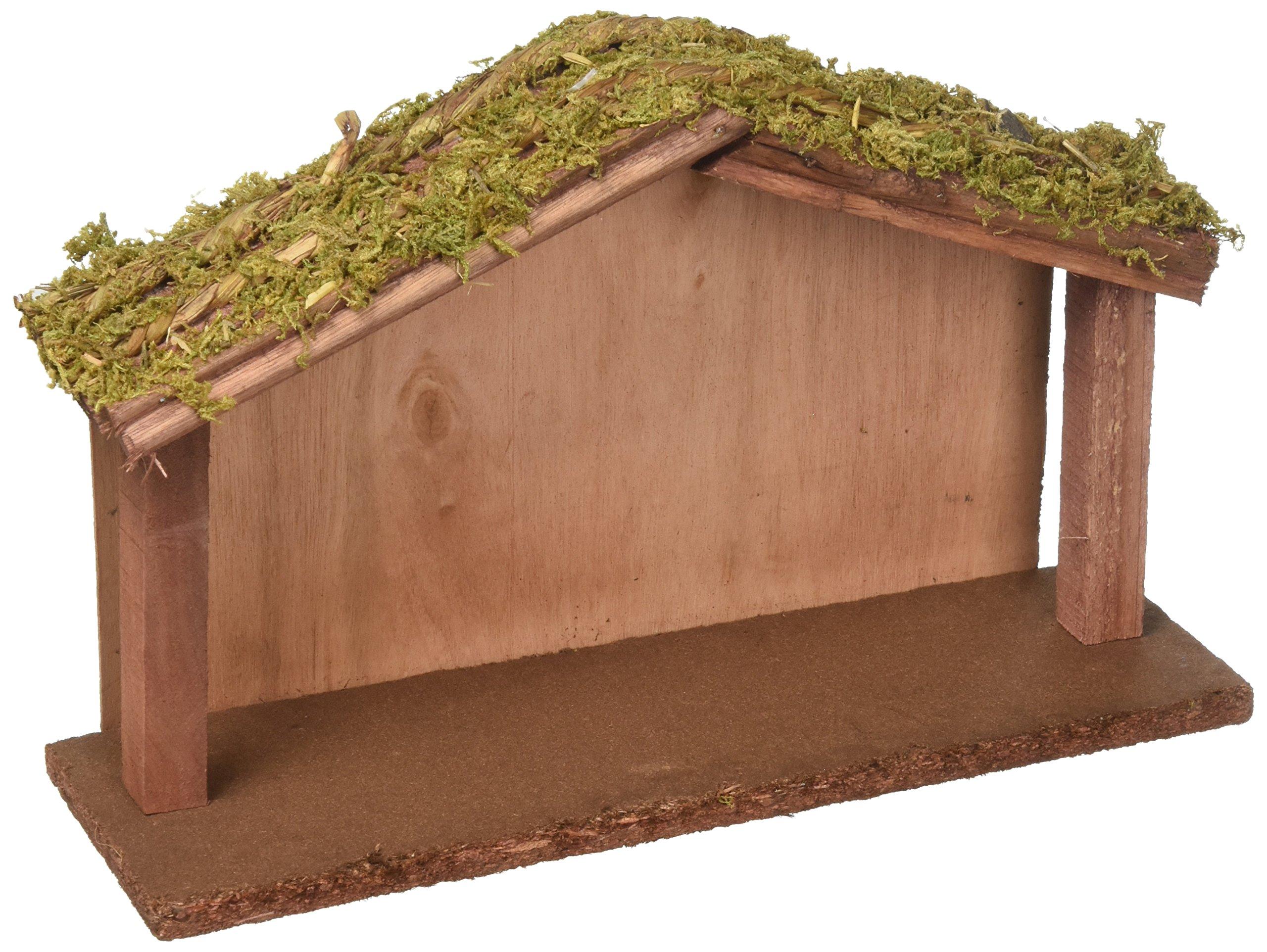 Creative Co-op XC2175 Wood Crèche w Mossy Roof