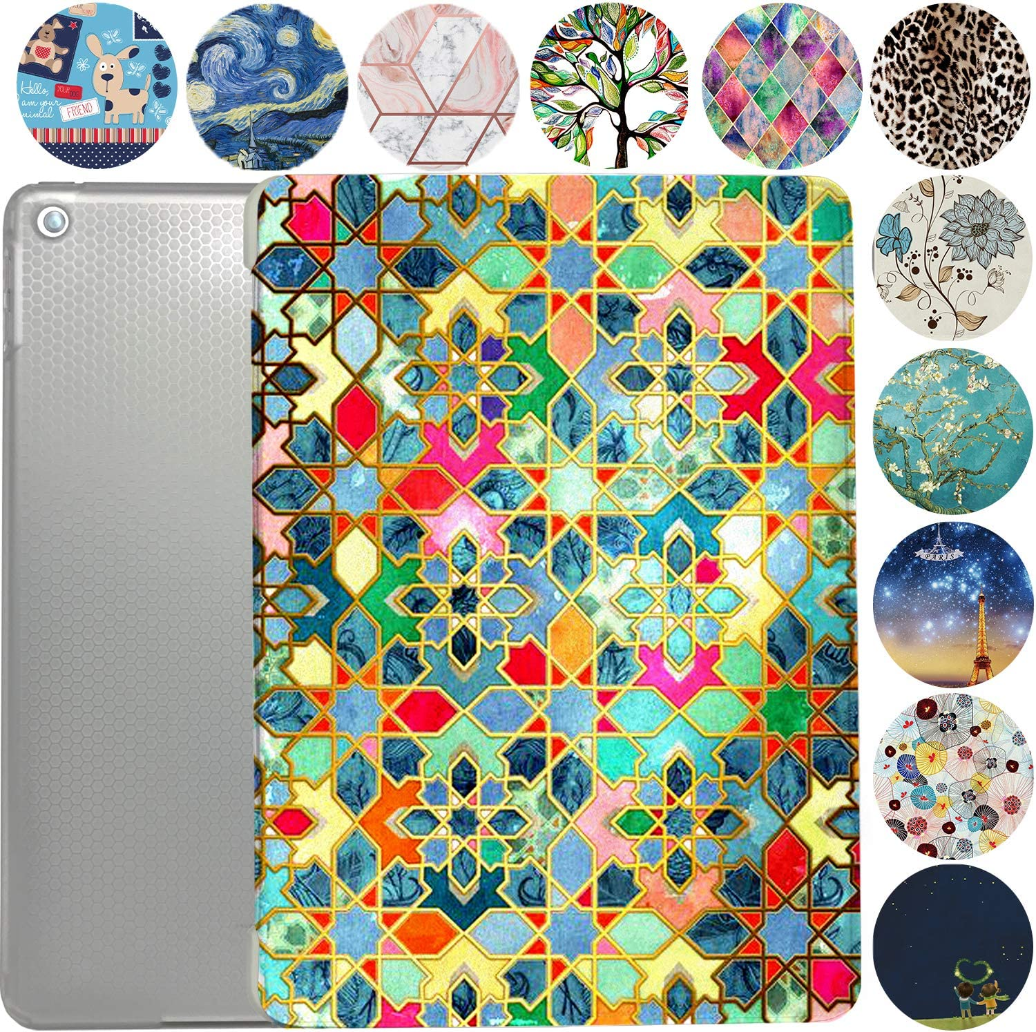 "iPad 10.5 Case 2019 iPad Air 3rd Generation Slim Smart Protective Cover with Soft TPU Honeycomb Clear Back & Viewing/Typing Stand for iPad 10.5"" Air 3 Gen Auto Sleep/Wake Printed- Damask"
