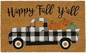 """Elrene Home Fashions Farmhouse Living Happy Fall Y'all Coir Mat for Entryway/Front Door/Porch, 18""""x30"""""""