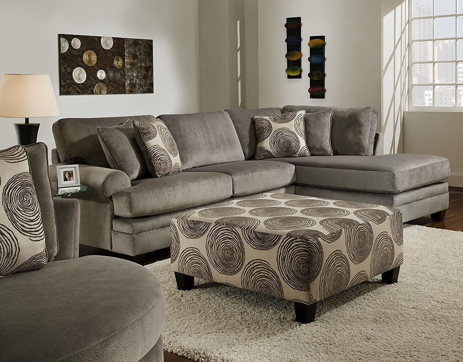 Chelsea Home Furniture Rayna 2-Piece Sectional, Groovy Smoke/Big Swirl Smoke