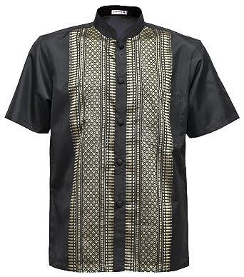 089839c23 Thai Silk Men's Short Sleeve Mandarin Band Collar Casual Shirt (Black, ...