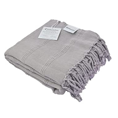 InfuseZen Stonewashed Turkish Towel, Thin and Absorbent Bath Towel, Beach Towel and Pool Towel, Large Cotton Stone Washed Peshtemal Towels Weaved in Turkey, Hammam Spa Towels (Beige)
