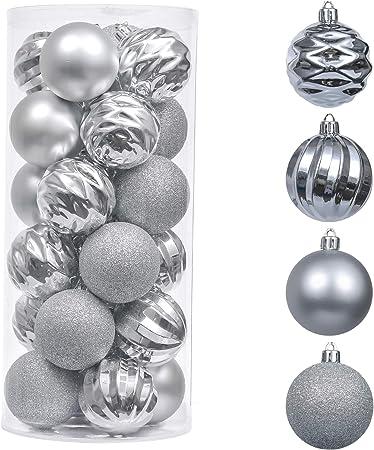 Valery Madelyn 24 Piezas Bolas de Navidad de 6cm, Adornos Navideños para Arbol, Decoración de Bolas de Navidad Inastillable Plástico de Plata, Regalos de Colgantes de Navidad (Deseos de Invierno): Amazon.es: Hogar