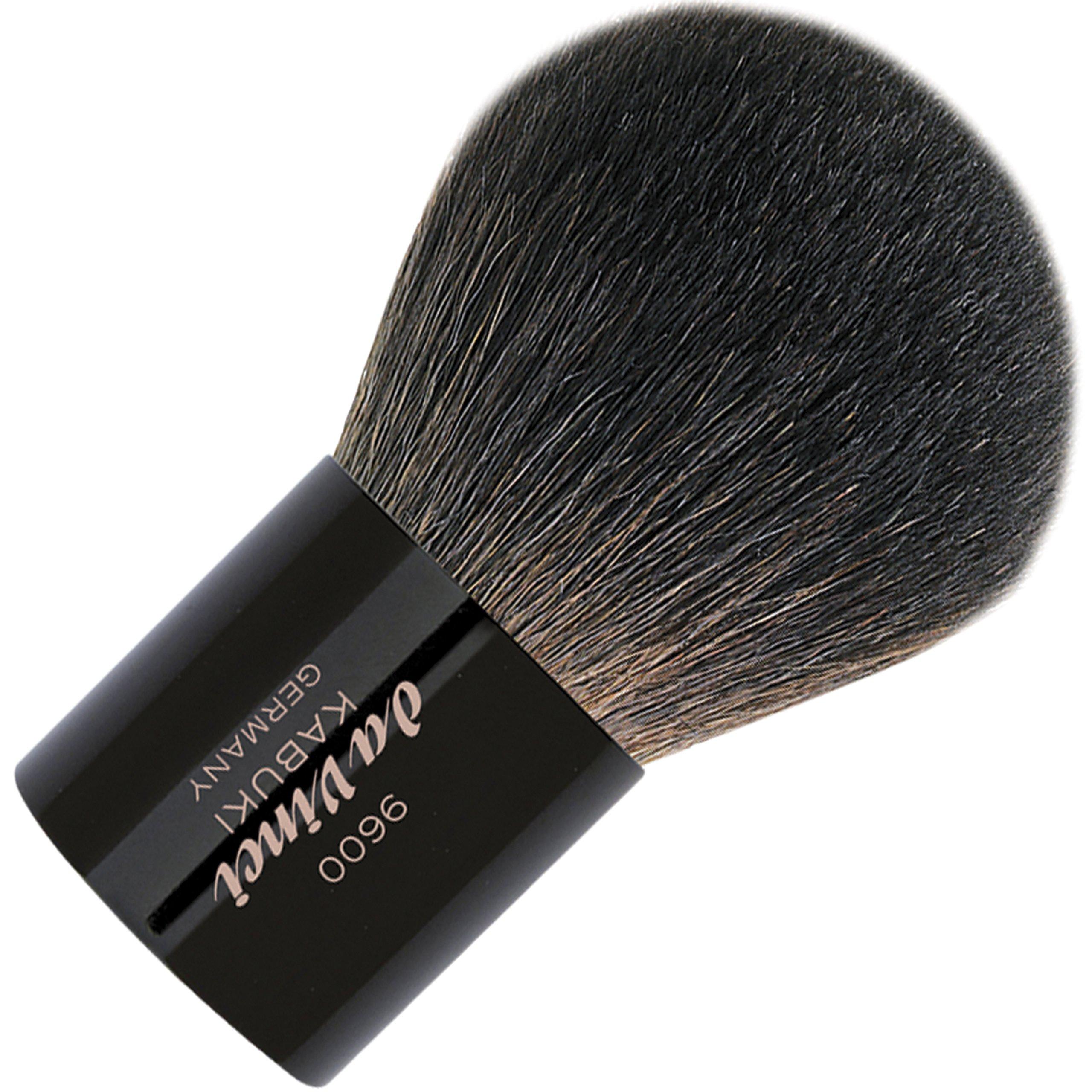 da Vinci Cosmetics Series 9600 Kabuki Powder Brush, Round Natural Hair with Black Freestanding Handle, Leather Case, 38.4 Gram