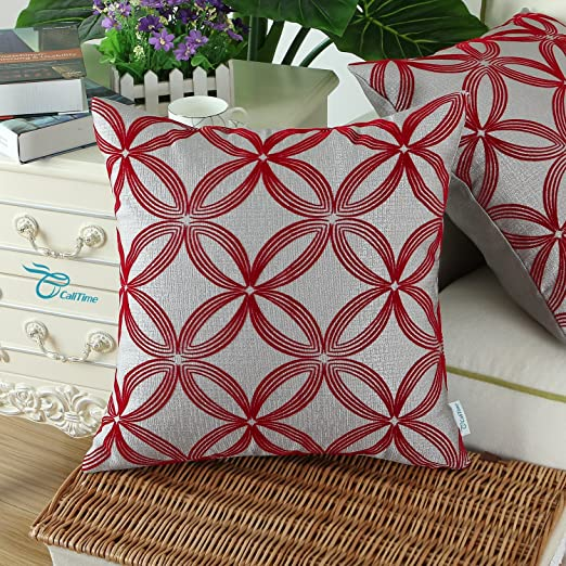 Pack 2, CaliTime Throw Pillow Covers 18 X 18 Inches, Flocking Circles Rings Geometric, Grey Deep Red