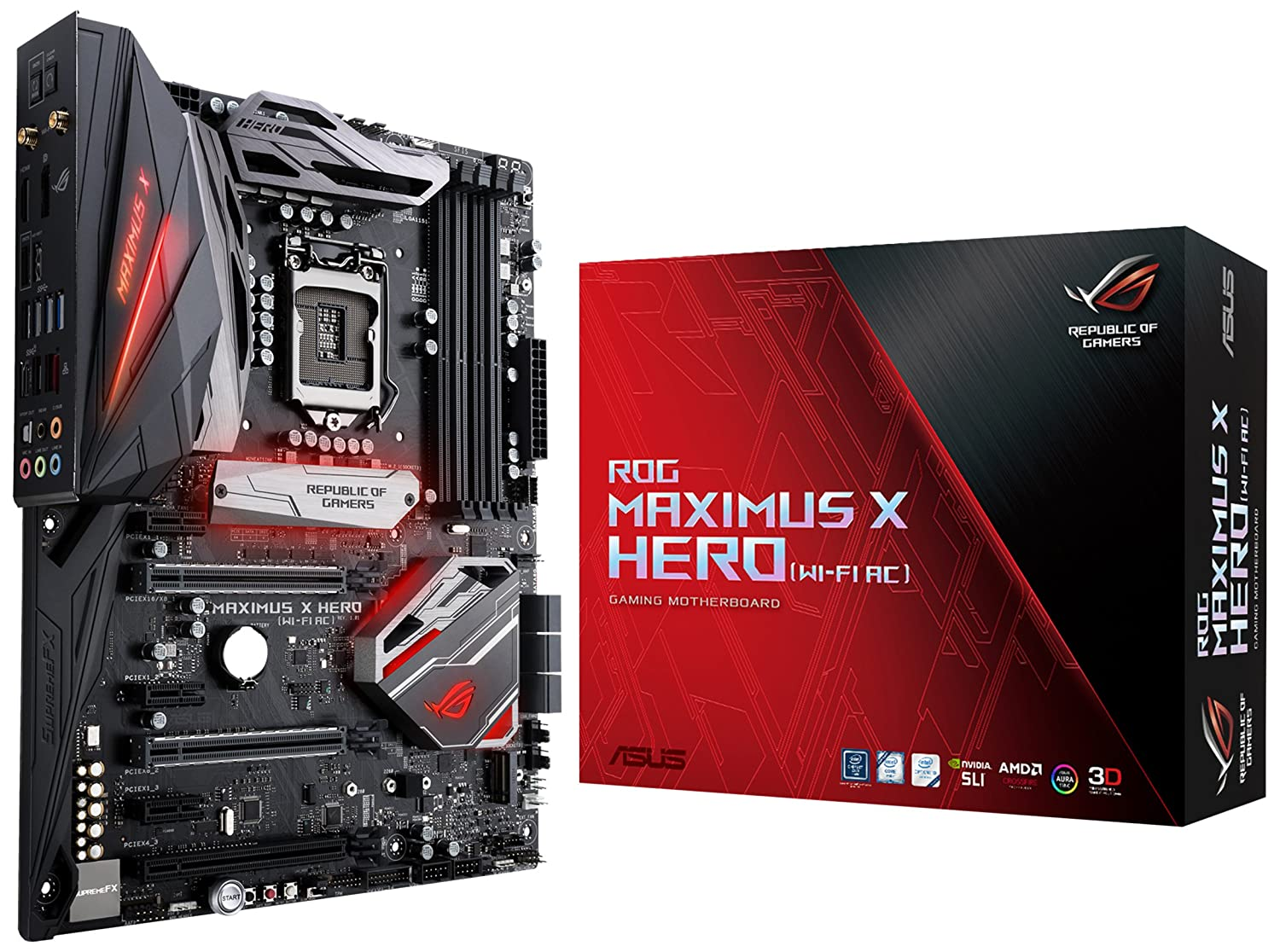ASUS ROG Maximus X Hero (Wi-Fi AC) LGA1151 DDR4 DP HDMI M 2 Z370 ATX  Motherboard with onboard 802 11ac WiFi, Gigabit LAN and USB 3 1 for 8th
