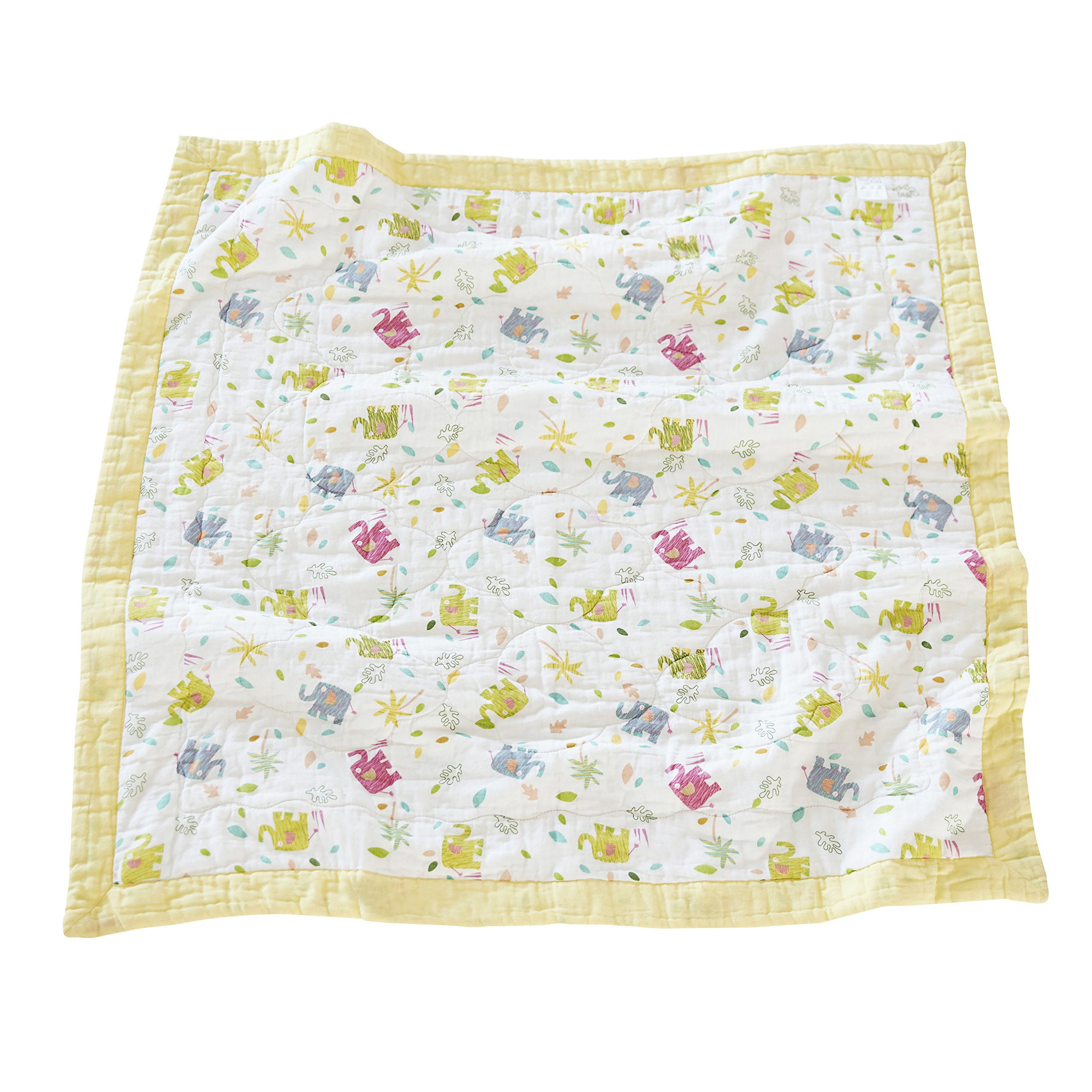J-pinno Elephant Baby Nursery Muslin Cotton Bed Quilt Blanket Crib Coverlet 43.5'' X 43.5'' (Yellow)