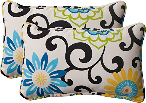 Pillow Perfect Outdoor Indoor Pom Pom Play Lagoon Black Lumbar Pillows, 11.5 x 18.5 , Pack of 2