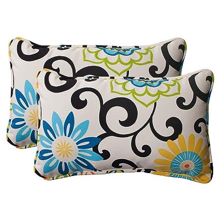 Indoor Outdoor Pom Pom Play Corded Rectangular Throw Pillow, Lagoon, Set of 2