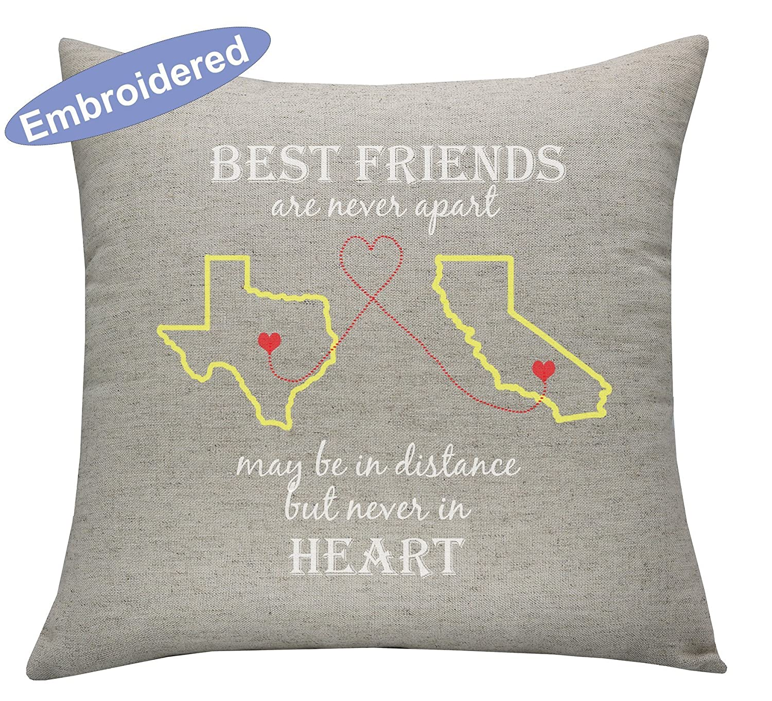 YugTex Cushion Cover Long Distance Best Friend, BoyFriend Christmas Gifts Personalized Husband Gift Fiance Military Deployment for Husband Wife Quote Love State U.S Country