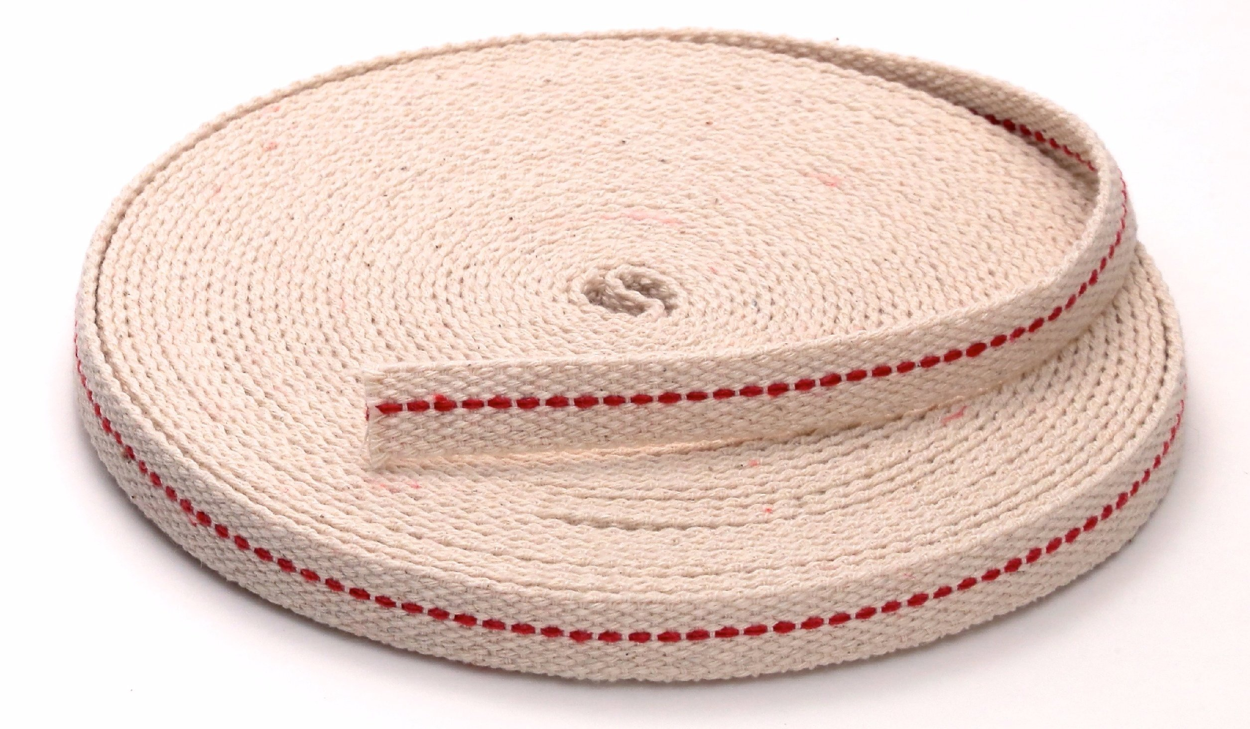 Light Of Mine 1/2'' Inch 100% Cotton Flat Wick 33 Foot Roll for Paraffin Oil or Kerosene Based Lanterns and Oil Lamps with Genuine Red Stitch Superior Quality (1/2'')