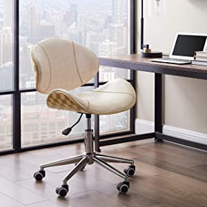 Volans Mid Century Desk Chair, Modern Bentwood and Leather Swivel Task Chair with Wheels, Adjustable Height, Creamy White