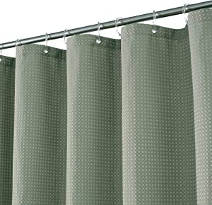 Waffle Weave Fabric Shower Curtain 60 inch Height, Hotel Luxury Spa, 230 GSM Heavyweight, Water Repellent, Machine Washable, Sage Green Pique Pattern Decorative Bathroom Curtain, 71x60