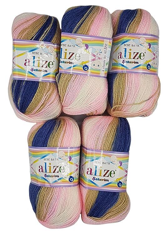 5 X 100g Babywolle Bebe Batik Mehrfarbig 500 Gramm Wolle Zum