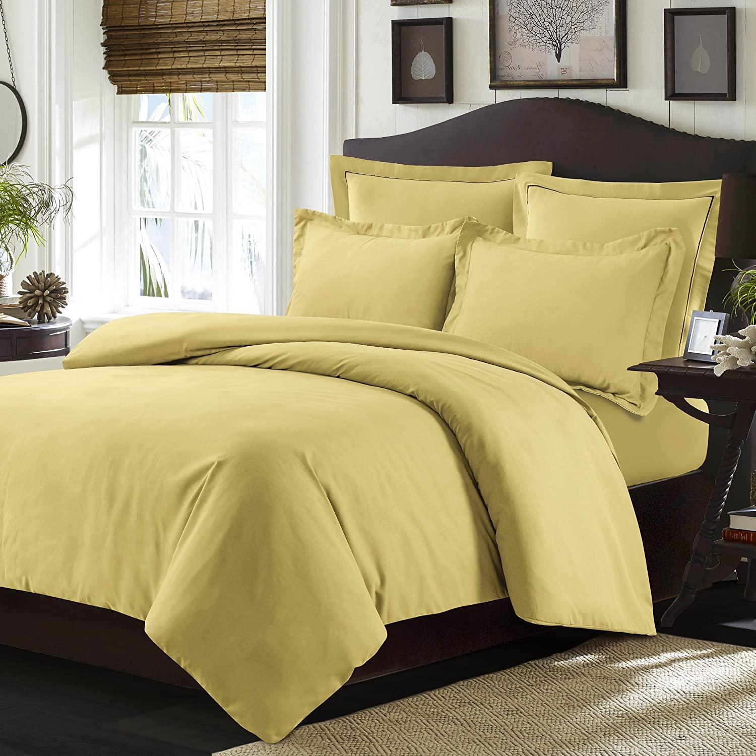 Tribeca Living VALENDUVETQUGO Valencia Solid Duvet Cover Set, Queen Gold,Queen