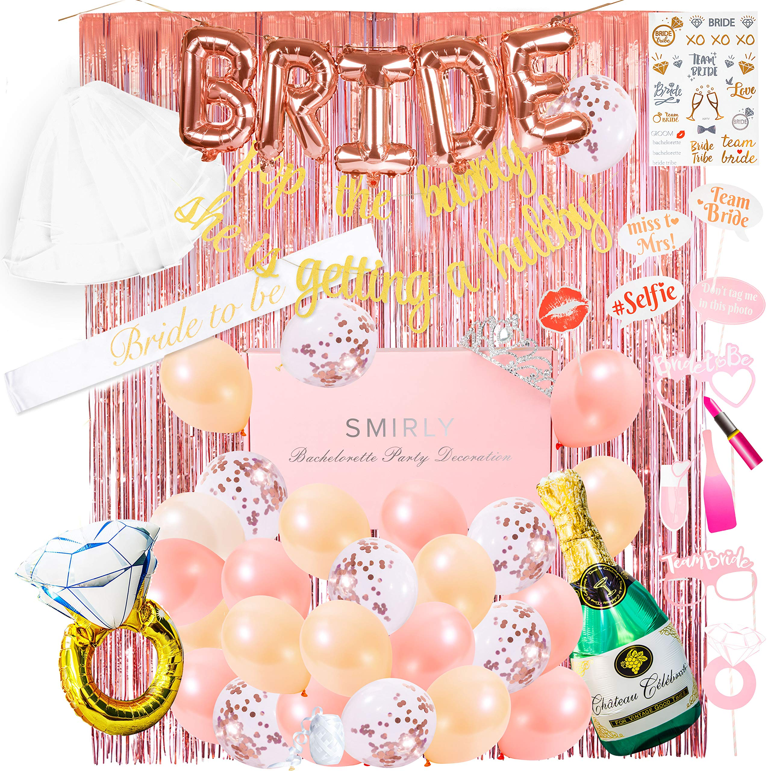 Smirly Bachelorette Party Decorations Kit: Rose Gold Bridal Shower Party Decor and Supplies - Includes Bride Sash, Gold Glitter Banner, Foil Balloons, Flash Tattoos, Tinsel Curtain, and More - 50 Pack