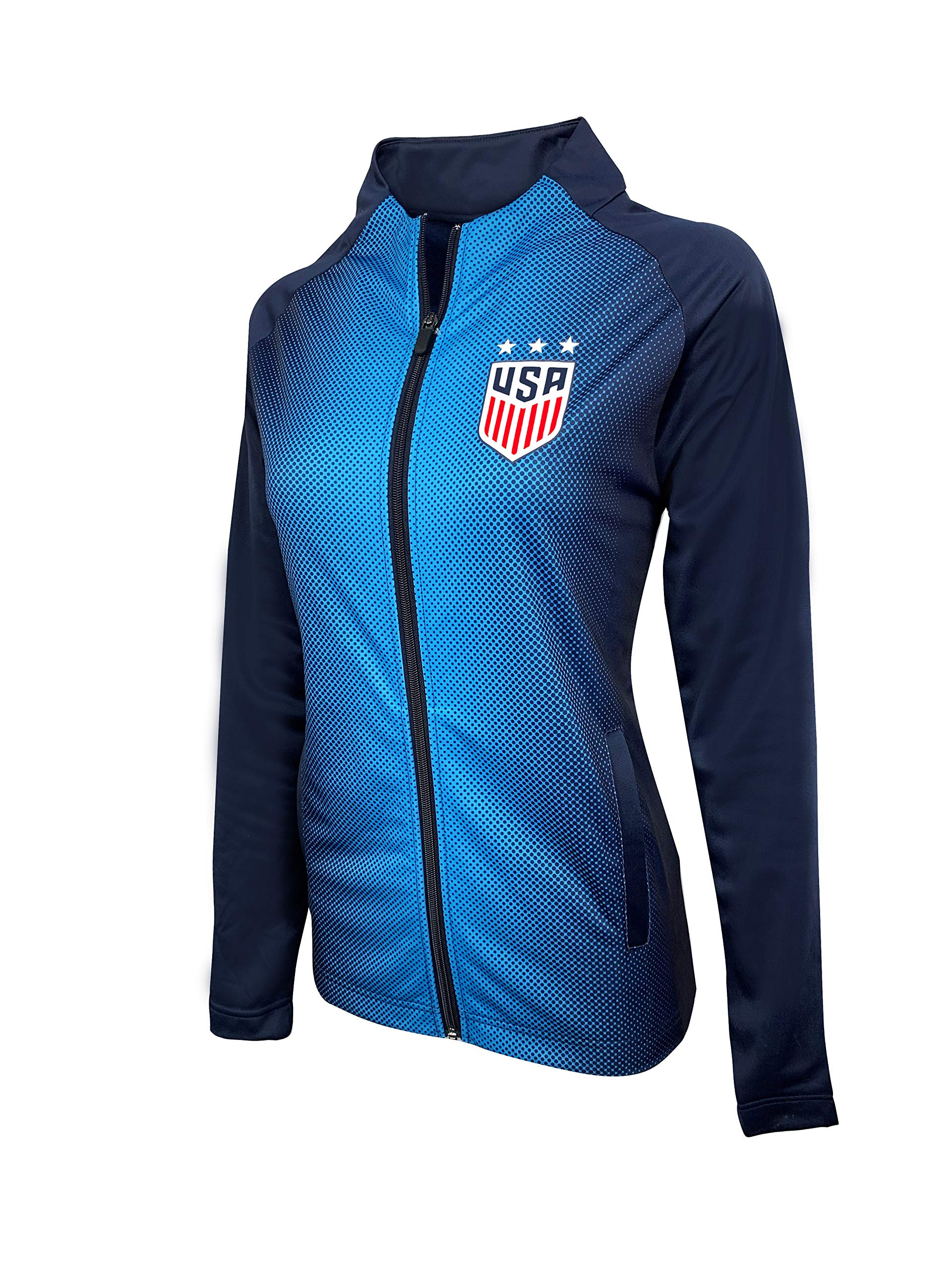 USA Women's Soccer Jacket, Women and Girls Sizes, Official USWNT Full-Zip Track Jacket (Small) Blue