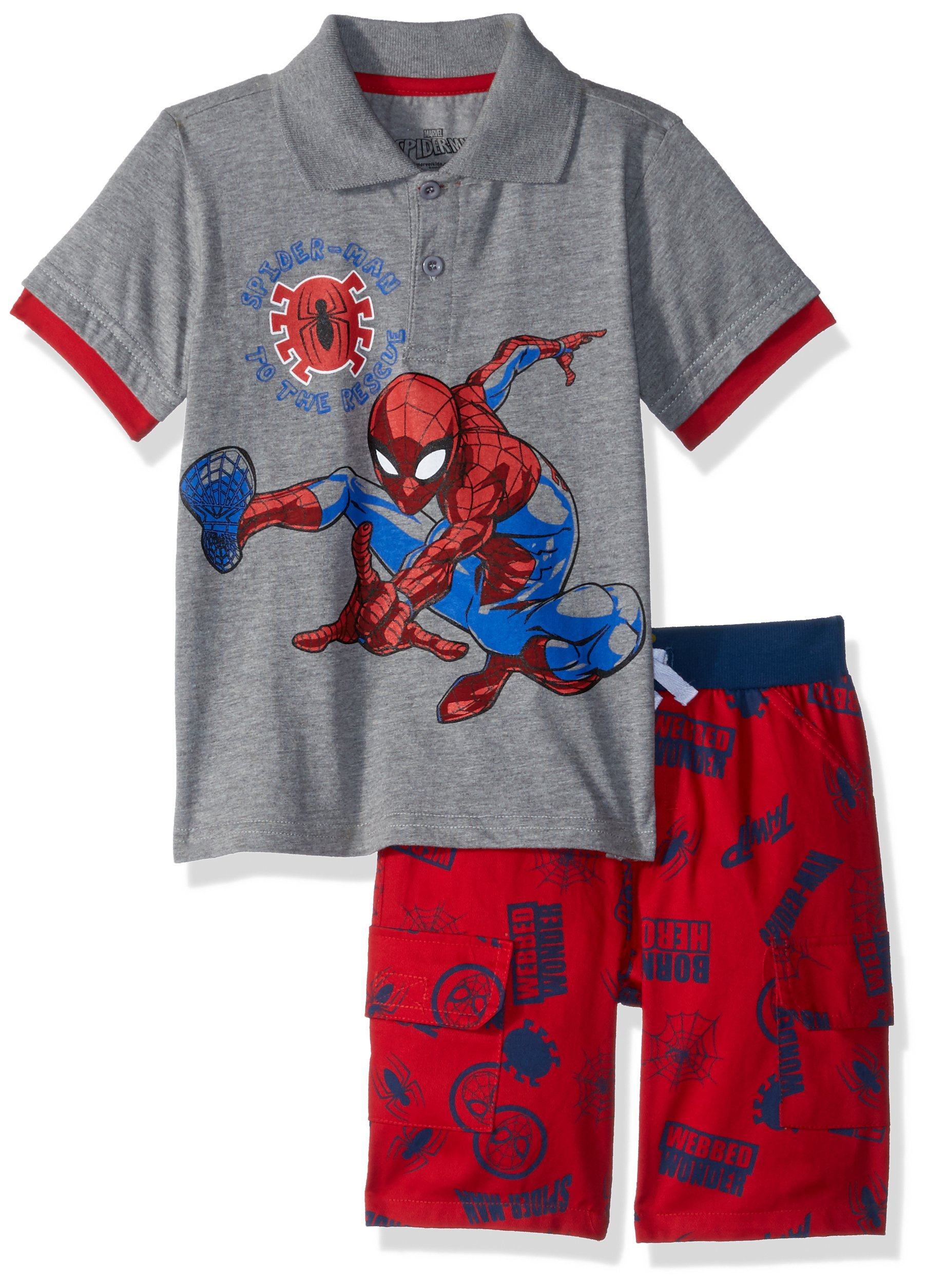 Marvel Little Boys' Spiderman Polo Short Set, Grey, 5