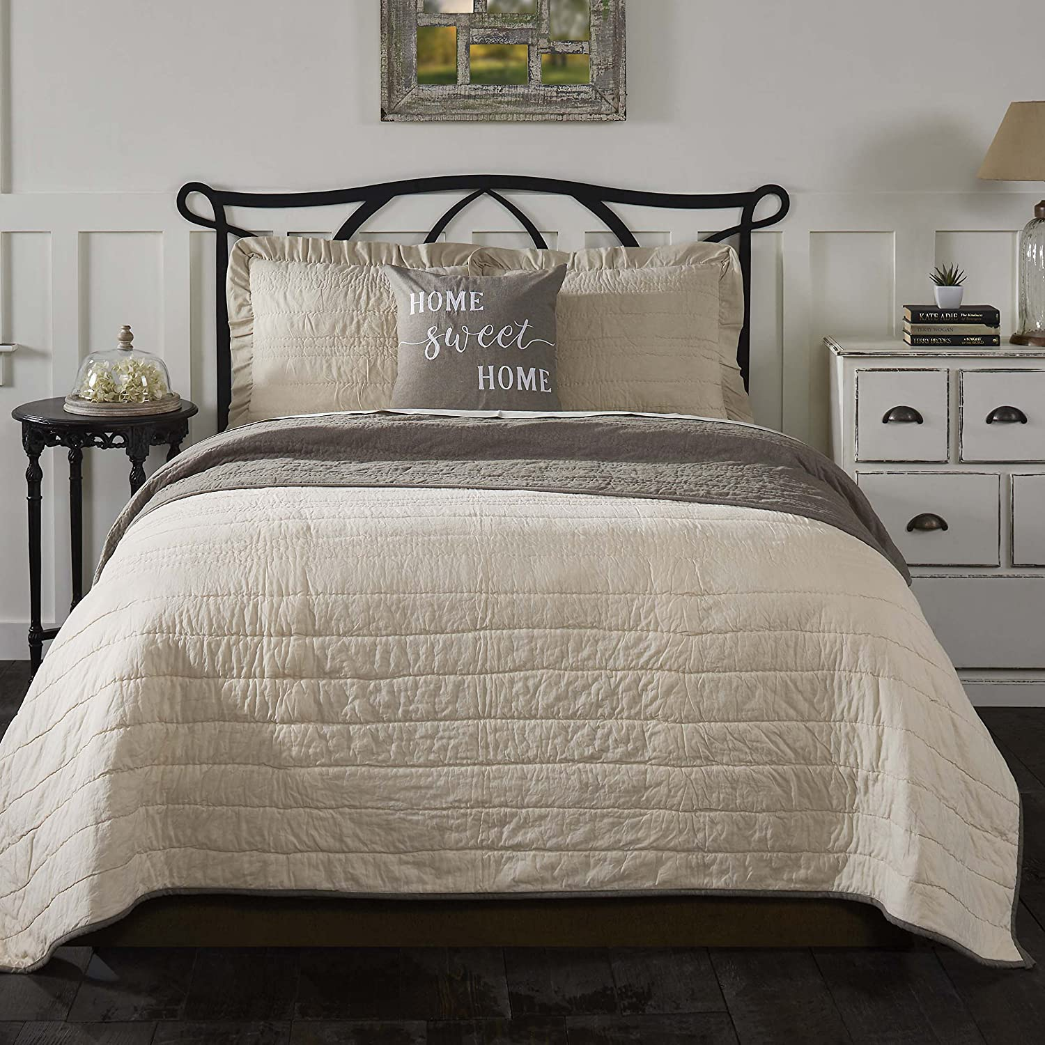 Piper Classics Ruffled Chambray Natural Standard Sham 21x27 Quilted Beige Pillow Cover Farmhouse Style