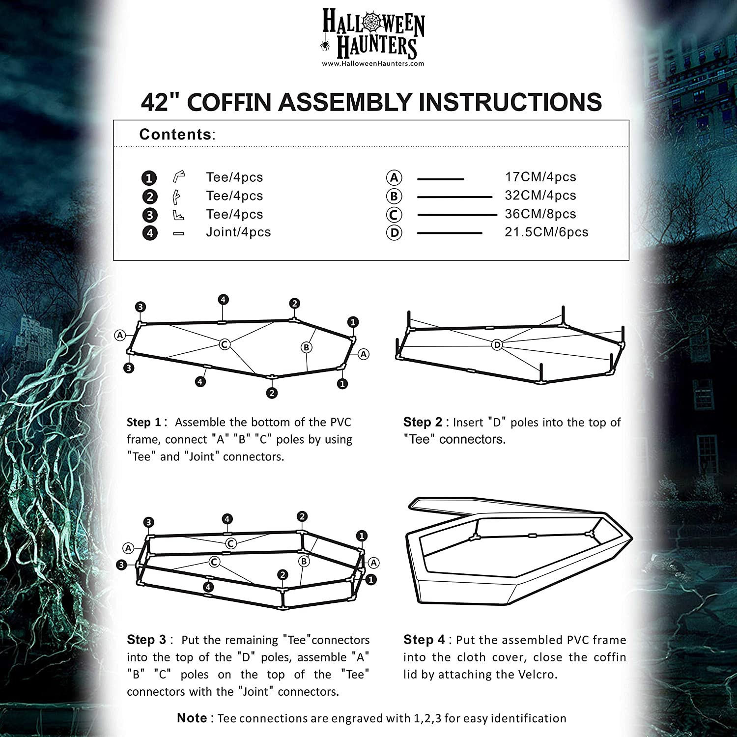 Sturdy Pole Frame Halloween Haunters Realistic 5 Foot Pop-Up Black Coffin Prop Decoration Spooky Skeleton LED Light-Up Eyes and Chains Collapsible Fabric Casket Graveyard Haunted House Cemetery