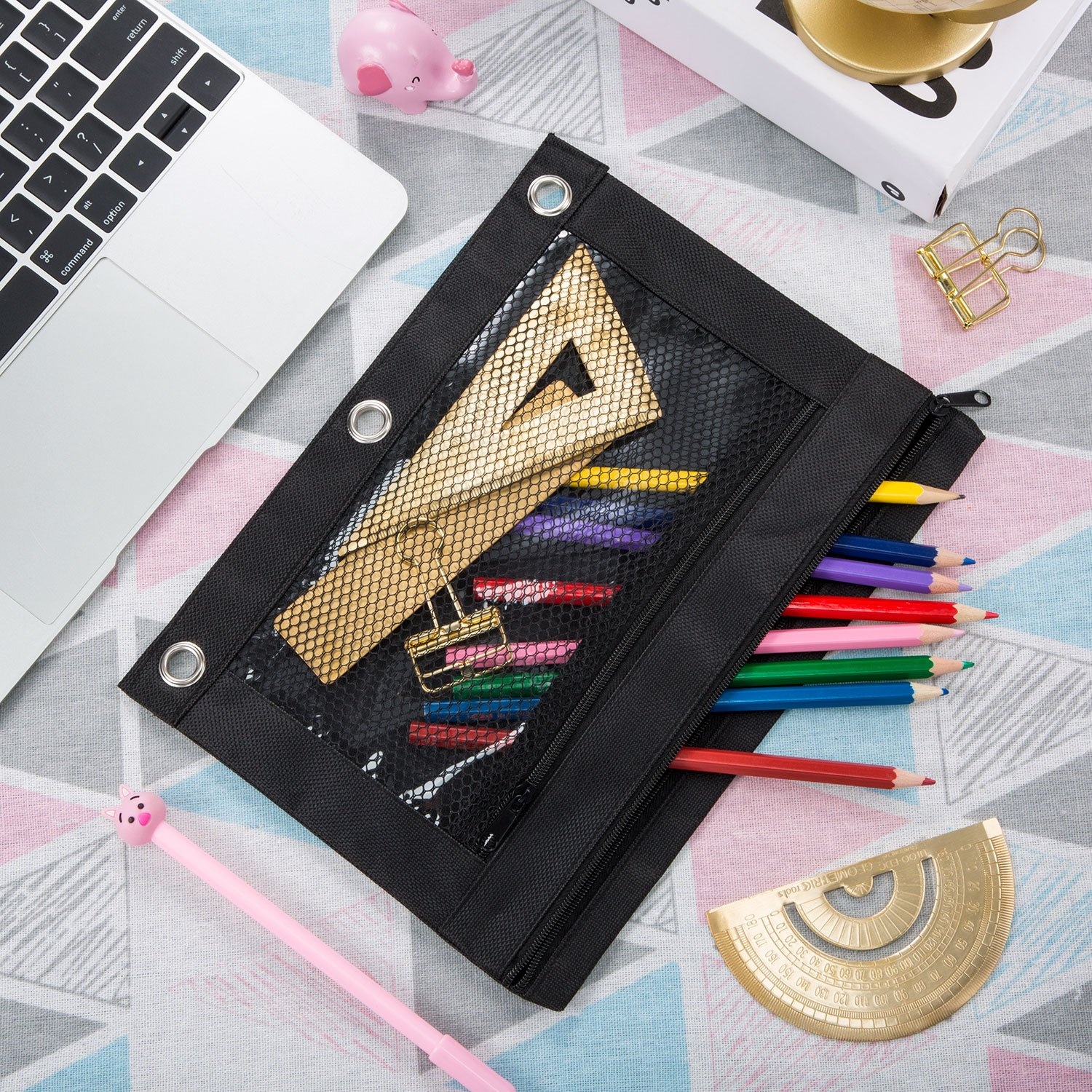 Tatuo 18 Pack 3 Ring Pencil Pouch with Double Mesh Window Zipper Pencil Pouch Bags Pencil Case (Black) by Tatuo (Image #3)