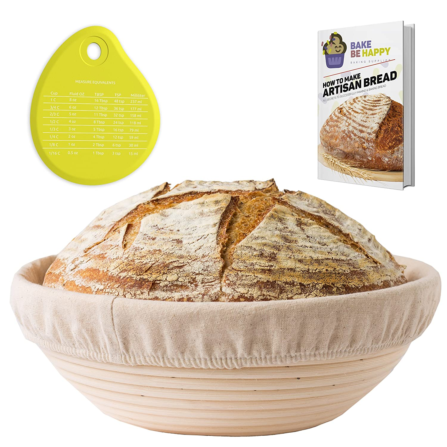 Banneton Proofing Basket Set - Round Brotform 10 Inch Kit - Removable Cloth Linen Liner - Natural Cane Rattan Bowl - Ideal for Dough Rising - eBook - Instructions Bake Be Happy COMINHKPR123621