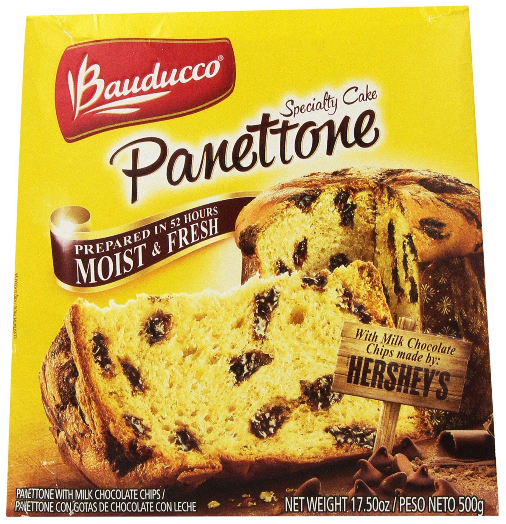 Panettone Specialty Cake Bauducco with Hershey's Milk Chocolate Chips - 17.50 oz - Panettone Bauducco com Gotas de Chocolate ao Leite Hershey's - 500g, Pack of 2