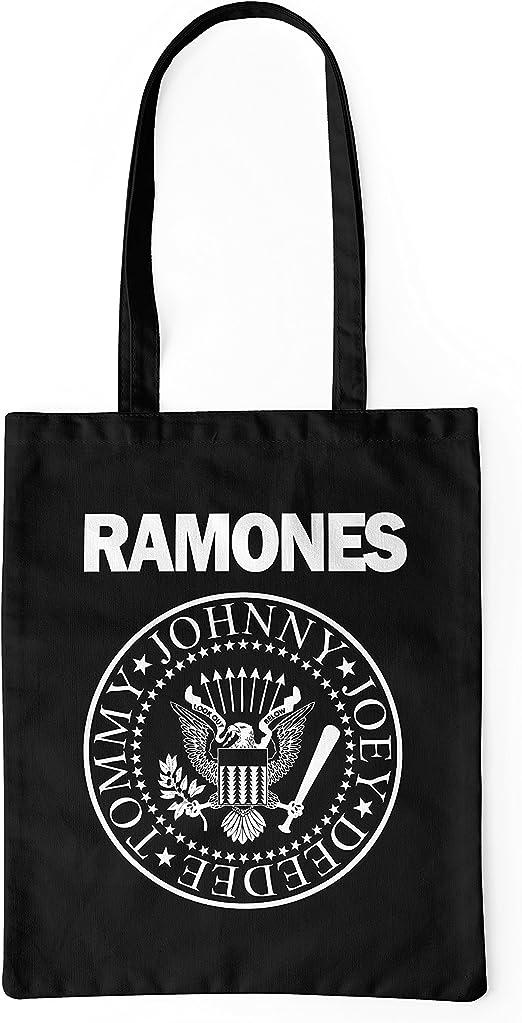 LaMAGLIERIA Bolsa de tela Ramones White Logo - tote bag shopping bag 100% algodón, Negro: Amazon.es: Hogar