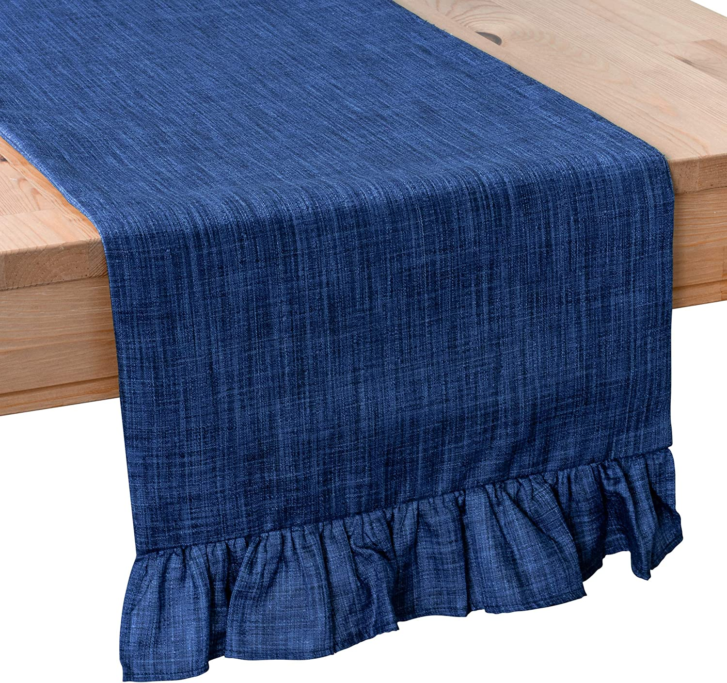 The White Petals Dark Blue Dresser Scarf Table Runners (13x48 inch, Pack of 1, Ruffles Trim) Fabric Lined | Properly Finished | for Home, Kitchen, Dining Room, Holiday, Wedding Party Décor