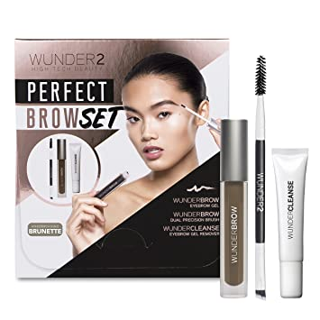 d9a8c1bcf1b WUNDER2 WUNDERBROW PERFECT BROW SET - WunderBrow Eyebrow Gel, WunderCleanse  & Dual Precision Brush, Brunette: Amazon.co.uk: Beauty