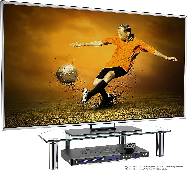 RICOO FS6026-C, Soporte TV de Cristal, Elevador televisión, Pedestal para Mesa, Base de pie, Peana Universal, Televisor LED/LCD/Curvo, Transparente: Amazon.es: Electrónica