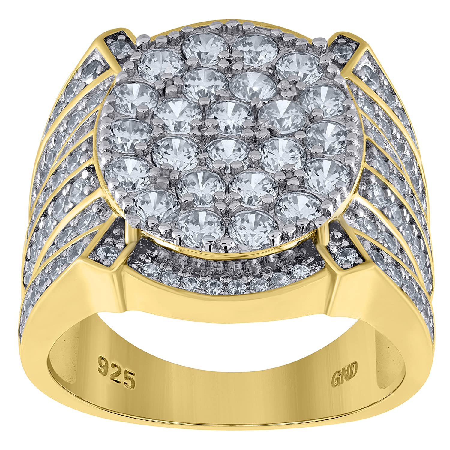 Jawa Jewelers Sterling Silver Mens Two-tone CZ Round Head SZ10 Cluster Band Ring-SLV-89934