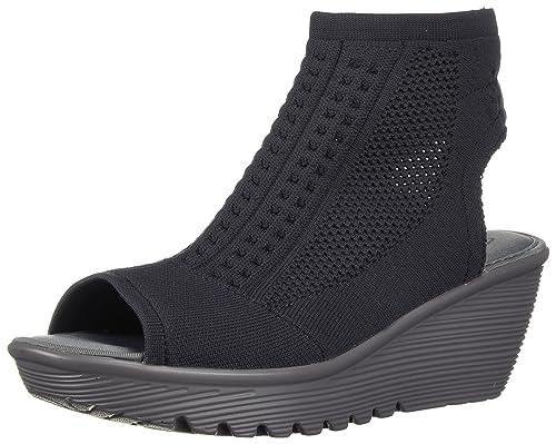 97569f56347f Skechers Women s Parallel-Tight Peep Toe Stretch Knit Wedge Sandal ...