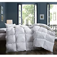 Snowman White Goose Down Comforter Full/Queen Size 100% Egyptian Cotton Shell Down Proof,600 Thread Count 800 Fill Power-Solid White Hypo-allergenic