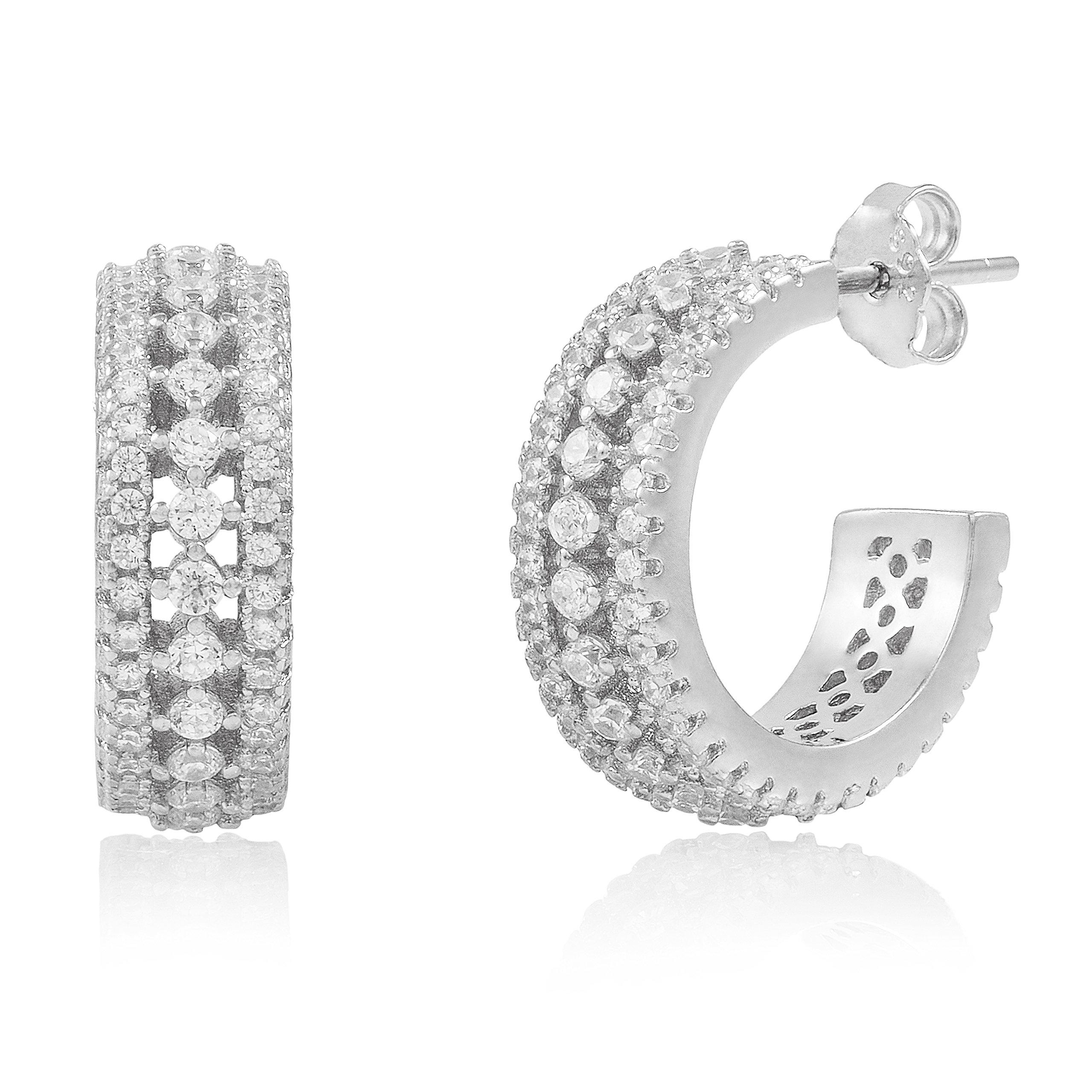 Rhodium Plated Sterling Silver Cubic Zirconia Huggie Hoop Earrings