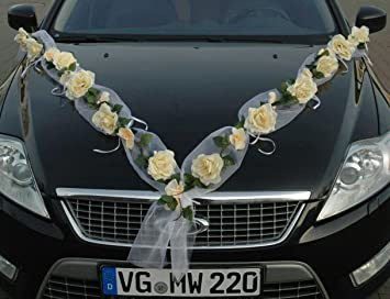 Rosen Girlande Auto Schmuck Braut Paar Rose Deko Dekoration