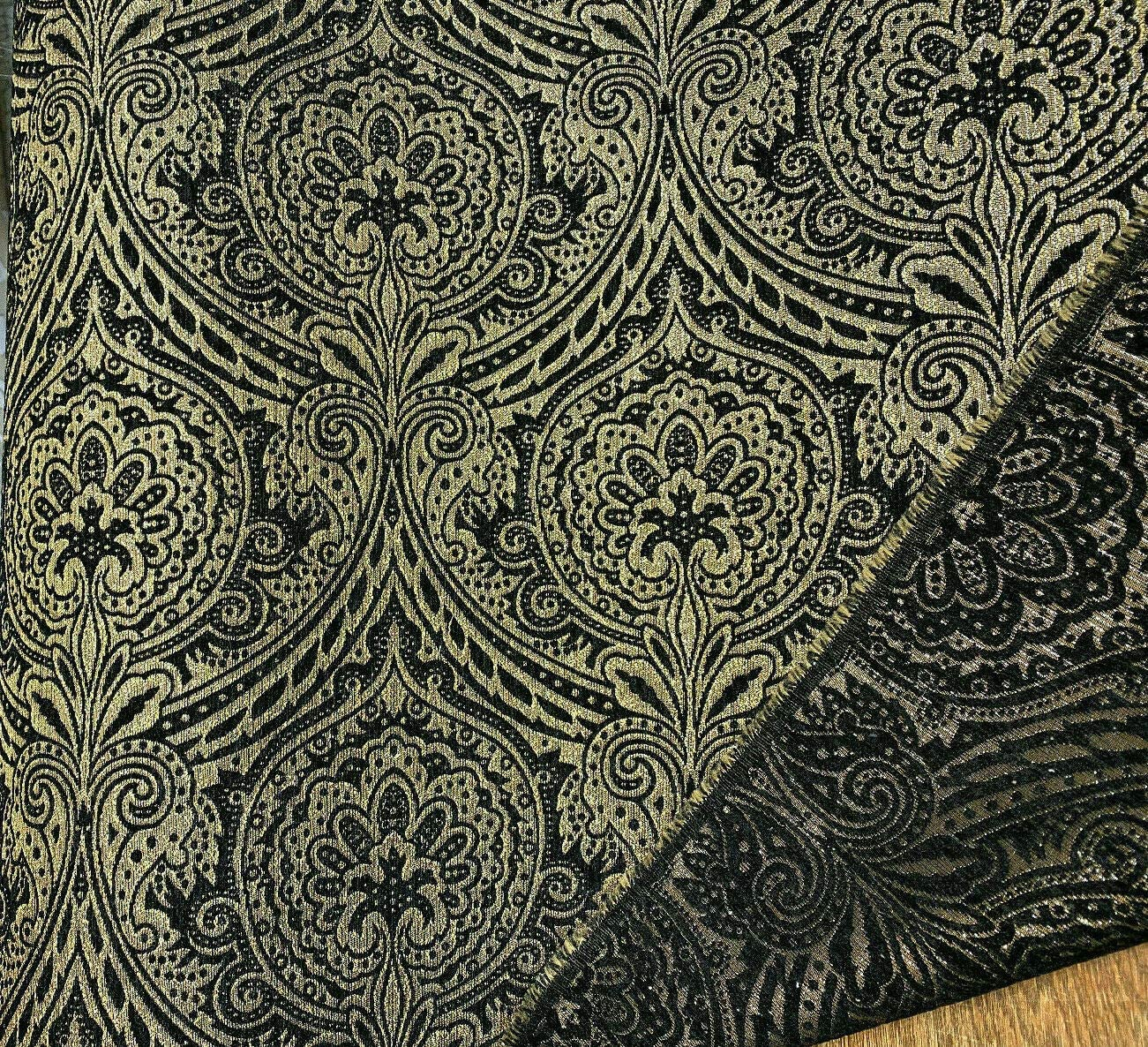 Medellin Damask Purple Gold Upholstery Fabric By The Yard