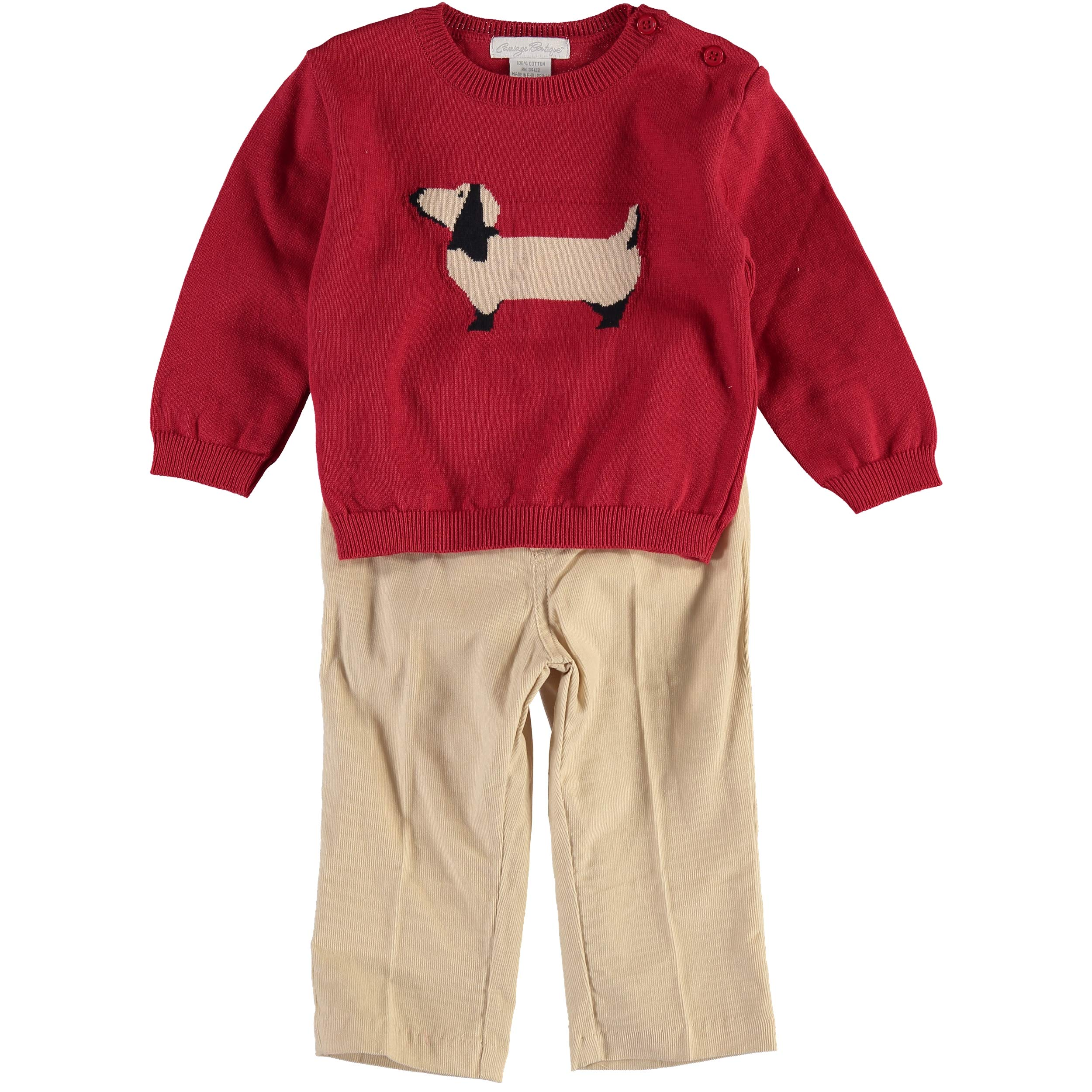 Carriage Boutique Boys Pullover Sweater and Pants Set with Scotty Dogs